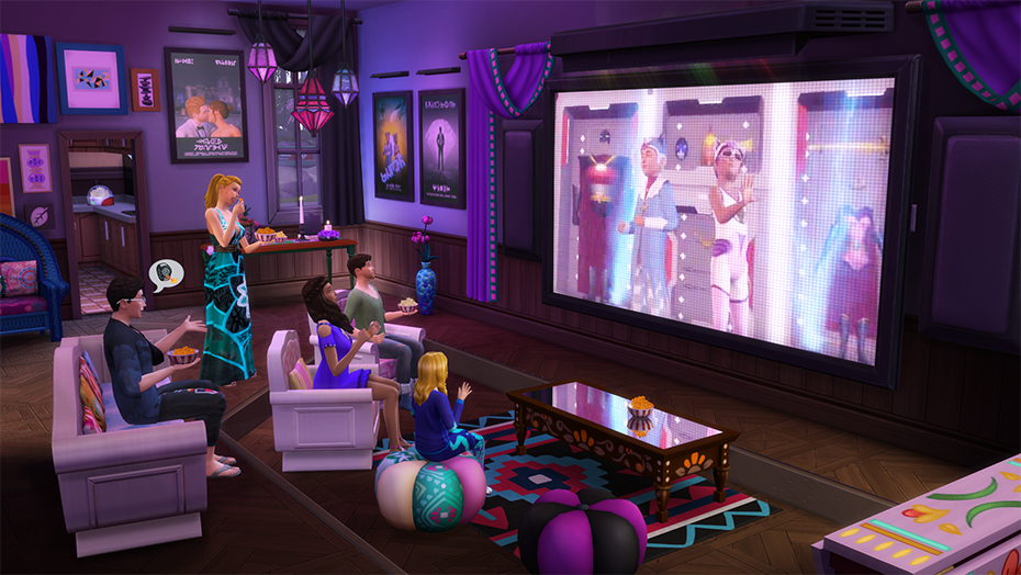 the sims 4 serata cinema stuff pack simsworld. Black Bedroom Furniture Sets. Home Design Ideas